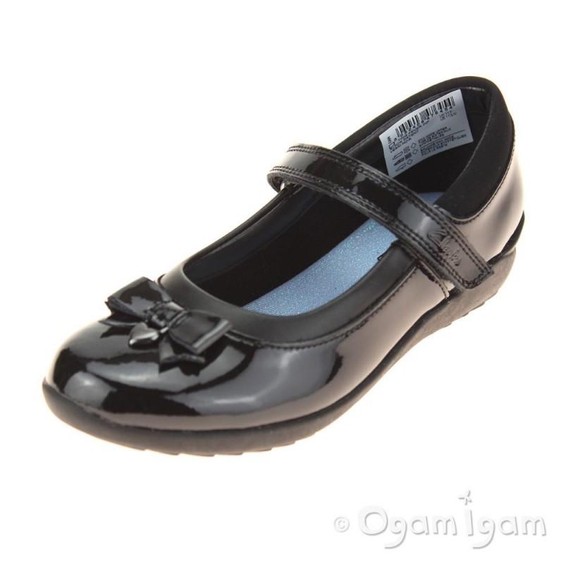 550afa6ae5fc Clarks Ting Fever Inf Girls Black Patent School Shoe