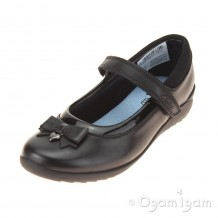 Clarks Ting Fever Inf Girls Black School Shoe