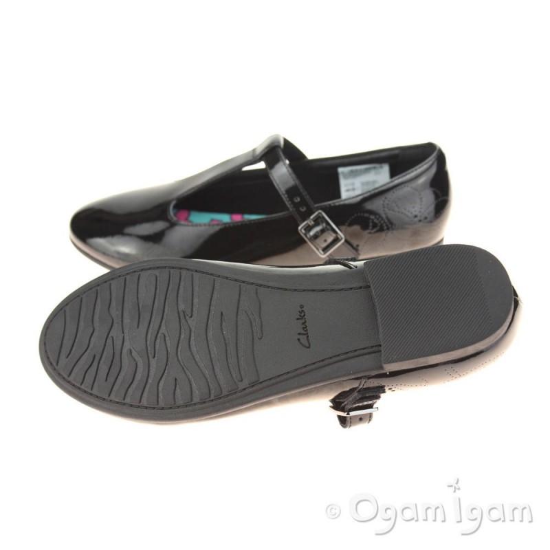 Clarks SelseyFudge BL Girls Black Patent School Shoe