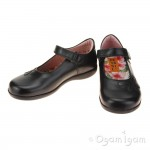 Petasil Bonnie Girls Black Leather School Shoe