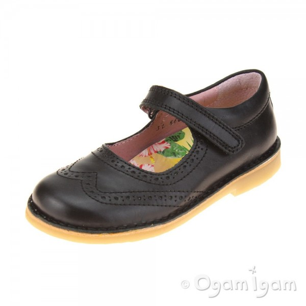 Petasil Claret 2 Girls Black School Shoe