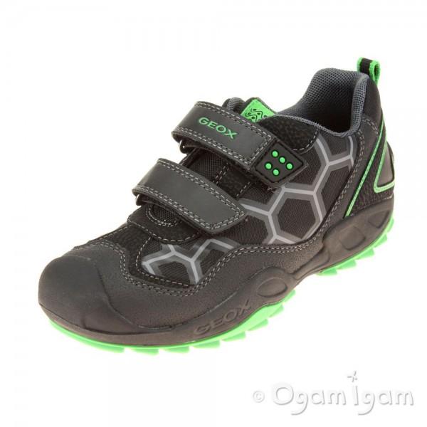 Geox Savage Boys Black-Green Trainer