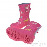 Joules Pink Pony Girls Pink Wellington Boot