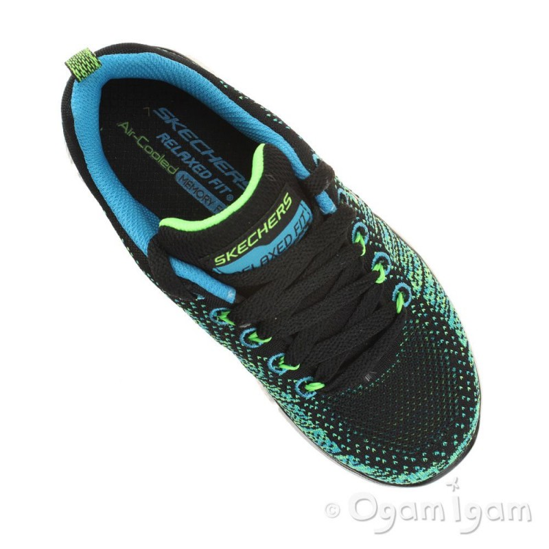 Skechers Equalizer Perfect Game Boys Bright Blue Lime Trainer