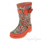 Joules Ditsy Girls Bright Orange Welly