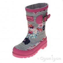 Joules PoolBlue PosyStripe Girls Pink Blue Welly