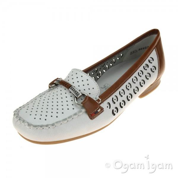 Rieker 4008580 Womens White-Tan Shoe