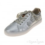 Clarks Brill Atom Jnr Girls Metallic Silver Shoe