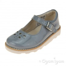 Clarks Crown Posy Inf Girls Grey Patent Shoe