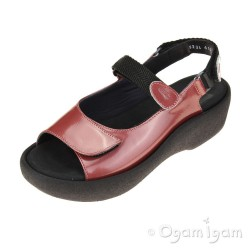 Wolky Jewel Womens Coral Red Metallic Patent Sandal