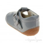 Clarks Little Weave Girls Grey Patent Shoe