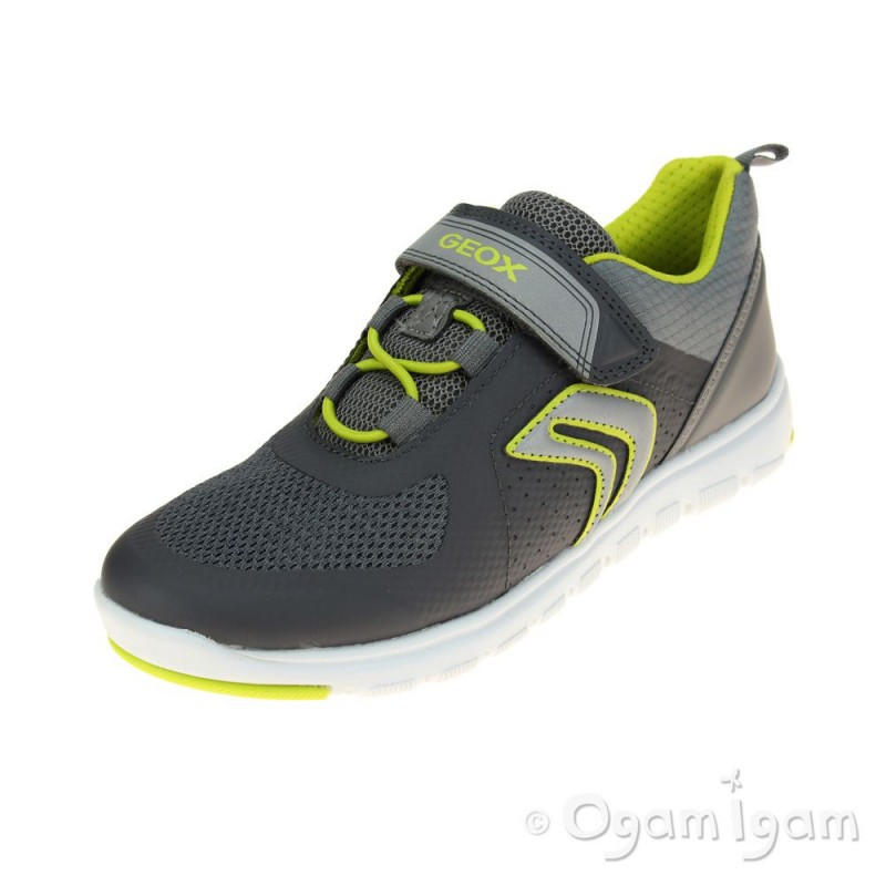 Geox Xunday Boys Grey-Lime Trainer  7a81a47776b