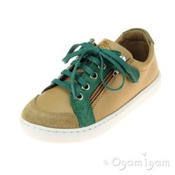 Shoo Pom Play Lo Bi Zip Boys Camel-Green Shoe