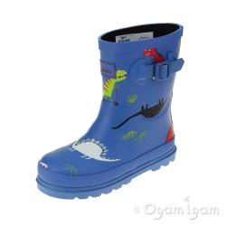 Joules Skatesaurus Boys Blue Welly Boot