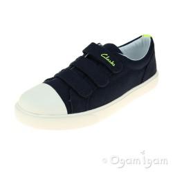 Clarks Club Halcy Jnr Boys Navy Canvas Shoe
