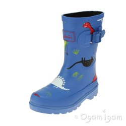 Joules Skatesaurus Boys Blue Welly Boot