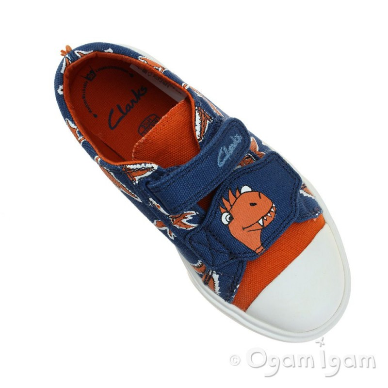 clarks tricer roar boys blue canvas shoe ogam igam