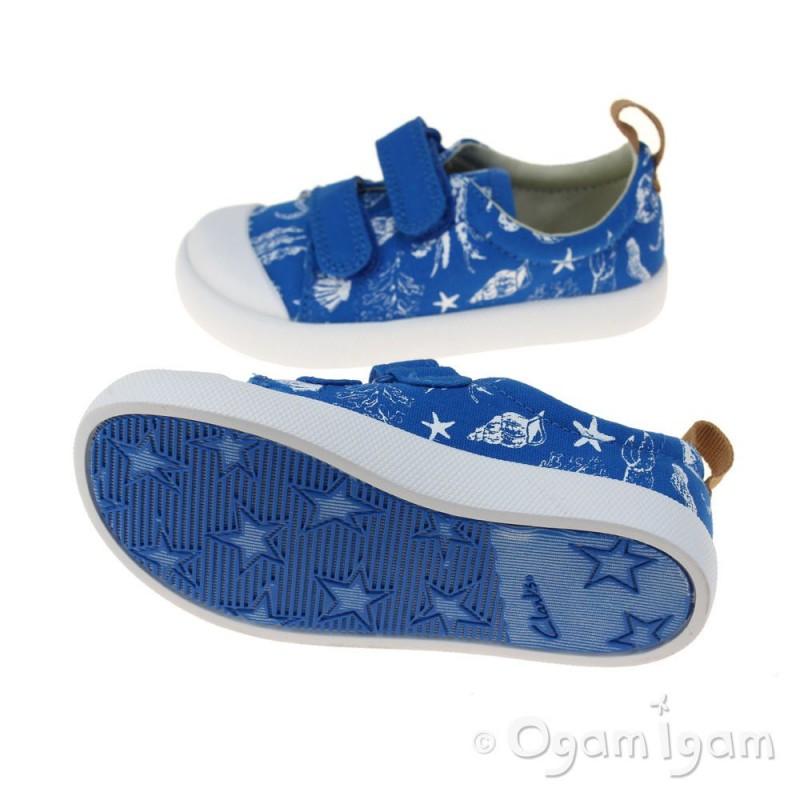 clarks halcy high fst boys blue canvas shoe ogam igam