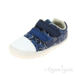 Clarks Little Chap Boys Navy Combi Canvas Shoe