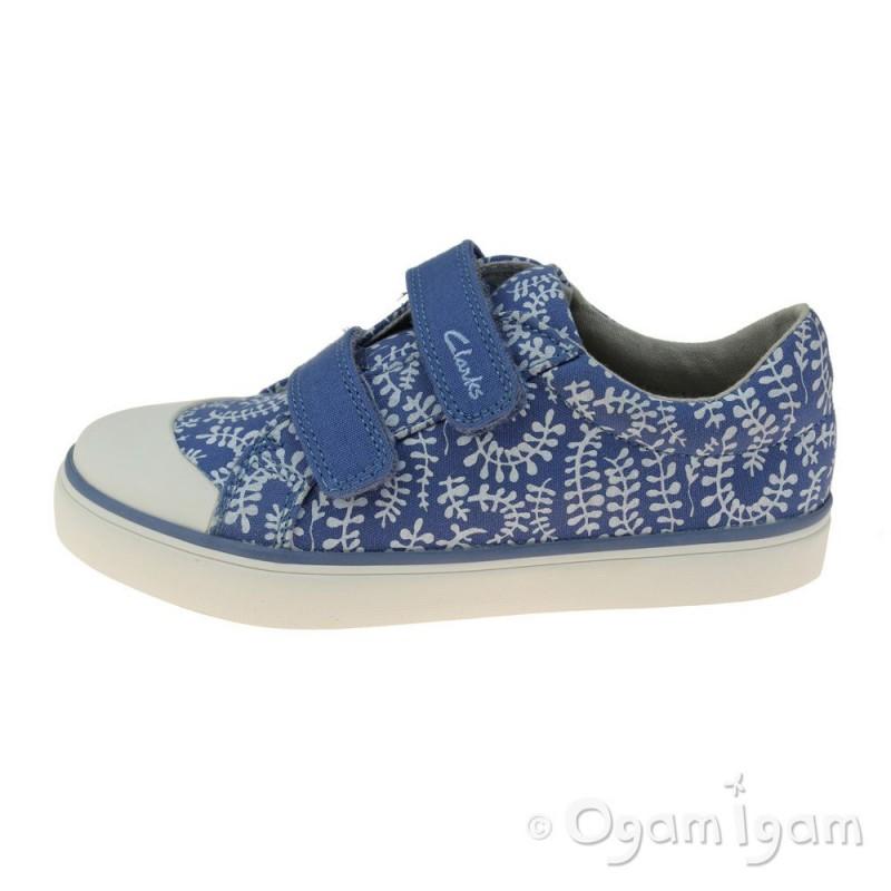 defa45a537c ... Clarks Brill Ice Inf Girls Blue Canvas Shoe ...