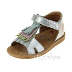 Shoo Pom Tity Fringe Infant Girls Silver-Pastel Sandal