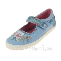 Start-rite Elsie Girls Pale Blue Canvas Shoe
