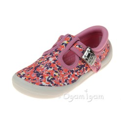 Clarks Briley Bow Fst Girls Pink Combi Canvas Shoe