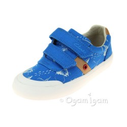 Clarks Comic Zone Inf Boys Cobalt Canvas Shoe