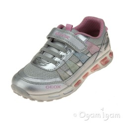 Geox Shuttle Girls Silver-Multicolour Trainer