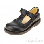 Angulus T-bar Girls Black School Shoe