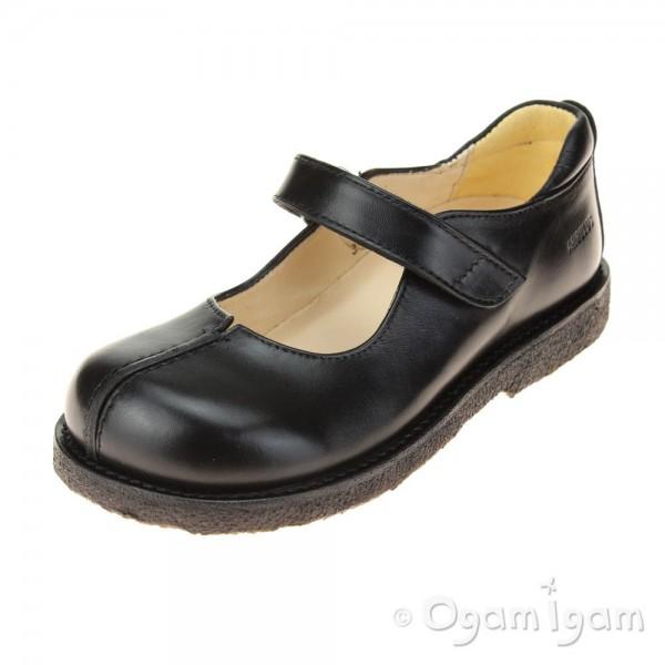 Angulus Mary Jane with Split Girls Black School Shoe