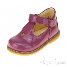 Angulus T-bar with heart Girls Fuchsia Patent Shoe