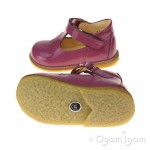 Angulus T-bar with heart Girls Fuchsia Patent Shoe