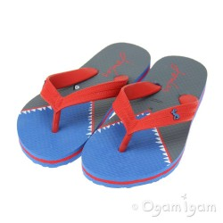 Joules Blue Shark Girls Blue Flip Flop