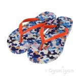 Joules Ditsy Girls Orange Flip Flop