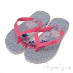 Joules Posy Stripe Girls Pool Blue Flip Flop