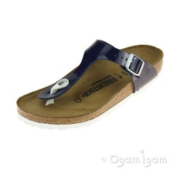 Birkenstock Gizeh Womens Patent Dress Blue Sandal