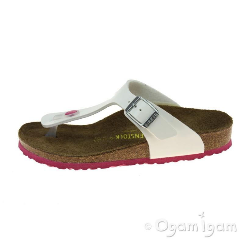 a2f5b977d9b4 ... Birkenstock Gizeh Kinder Girls White-Pink Sandal ...