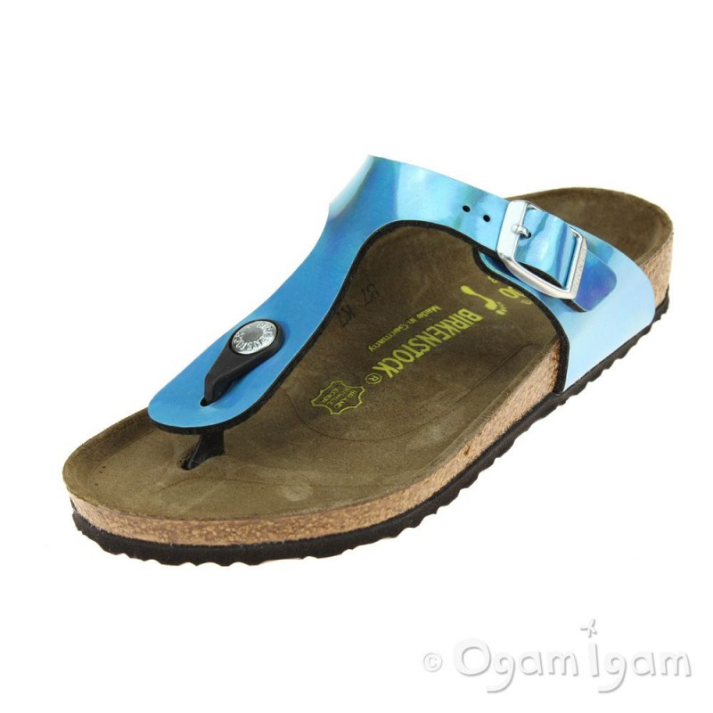 80a5416aff4 Birkenstock Gizeh Kids Girls Mirror Blue Sandal