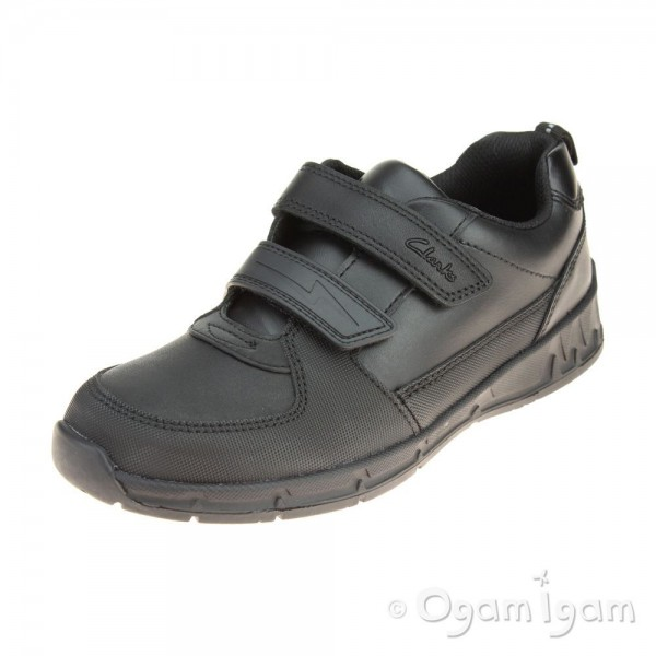 Clarks Maris Fire Jnr Boys Black School Shoe