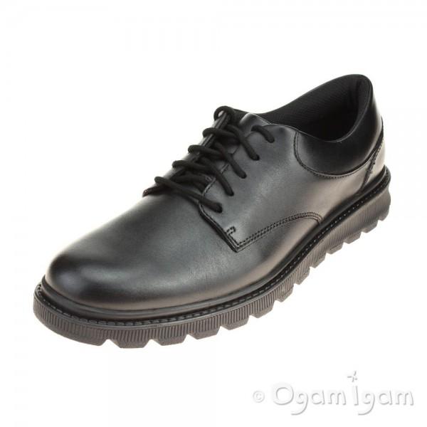 Clarks Mayes Trek BL Boys Black School Shoe
