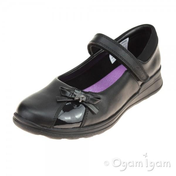 Clarks Mariel Wish Jnr Girls Black School Shoe