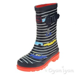 Joules Navy Stripe Car Boys Navy Welly Boot
