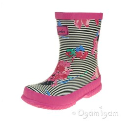 Joules Stripe Floral Girls Pink Welly Boot