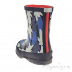 Joules Multi Camo Bear Boys Blue Welly Boot
