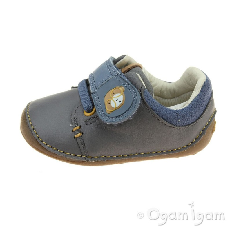 Clarks Tiny Sid Boys Shoes 3 G Grey Leather t6Plf90