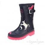 Joules Unicorn Girls Navy Wellington Boot
