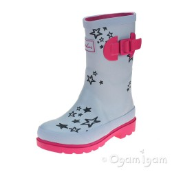 Joules Sky Blue Star Girls Welly Boot