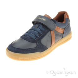 Geox Arzach Boys Navy-Brown Cotto Shoe