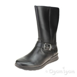 Clarks Mariel Star Jnr Girls Black Boot